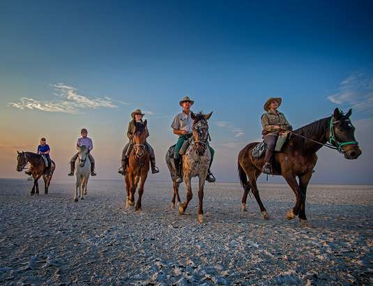 Horse riding on Botswana