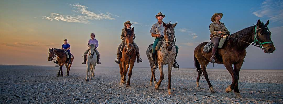 Horse riding on the Makgadikgadi Salt Pans